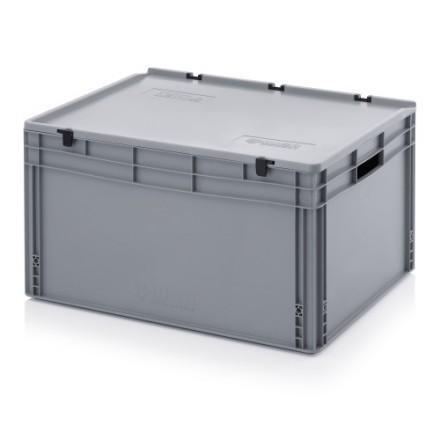 Plastični zaboj s pokrovom 800 x 600 x 420 mm