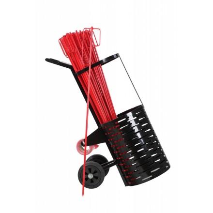 Voziček s setom kovinskih zapornih stebričkov