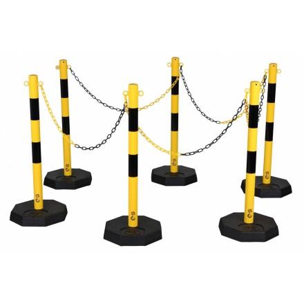 Set zapornih stebričkov z verigo - rumeno/črni