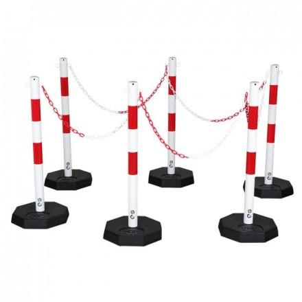 Set zapornih stebričkov z verigo - rdeče/beli