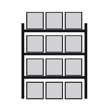 Regal za vzdolžno skladiščenje palet 2700 x 1100 x 4400 mm