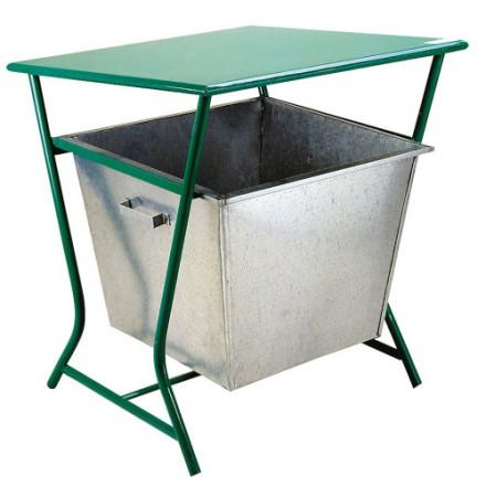 Košara z strešico za odpadke - Zelena