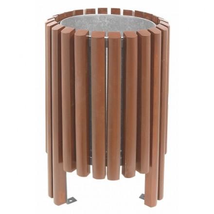 Leseni zunanji koš za odpadke - Okrogel