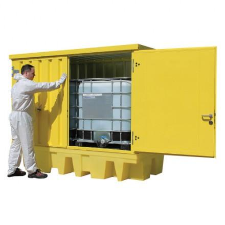 Zaprta lovilna paleta za 2 x IBC cisterno